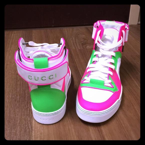 97f8f9be0 Gucci Men's Basketball High-Top Sneakers. Gucci.  M_5a41e9eb36b9ded69104a9fa. M_5a41ea00f9e50153de04af5c.  M_5a41ea1b5512fd8c6a04af30
